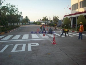 Factory road marking