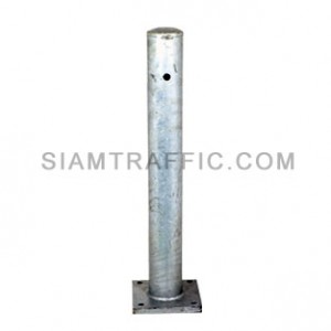 Guard rail post welded to steel plate