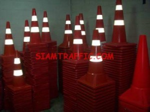 Traffic cone with reflective sheeting